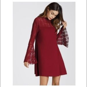 Red lace insert flute sleeve dress - never worn